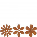 Metal flower for hanging, 3 motifs, D12cm, rust